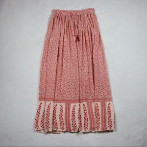 Zara Red Stretch Maxi Skirt with pockets
